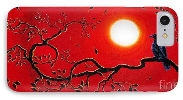 Crow In Crimson Sunset Phone Case by Laura Iverson