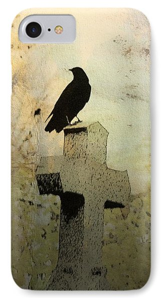 Crow On Old Cross Among The Fall Trees  IPhone Case