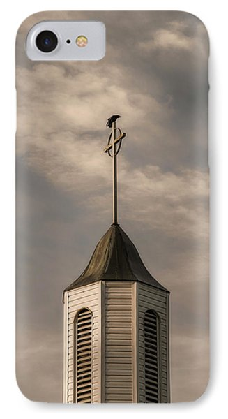 Crow On Steeple IPhone Case by Richard Rizzo
