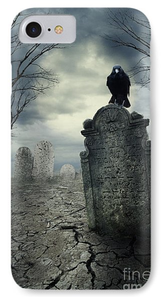 Crow On The Tombstone IPhone Case