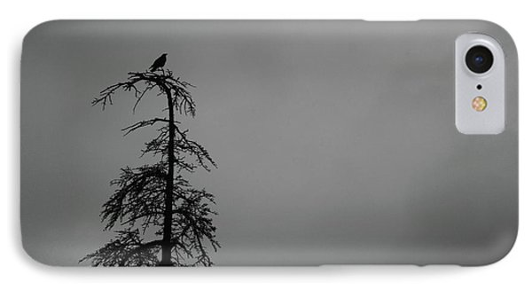 Crow Perched On Tree Top - Black And White IPhone Case by Matt Harang