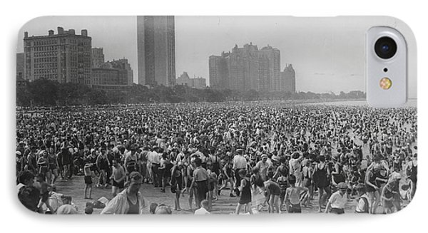 Crowd Of Bathers On The Lake Michigan Beach In Chicago IPhone Case by Celestial Images