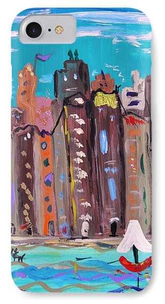 IPhone Case featuring the painting Crowded By The Sea by Mary Carol Williams