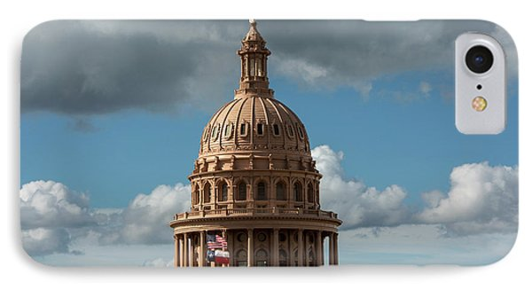 Crowning The Dome Of The Texas State Capitol Stands The Goddess  IPhone Case by Herronstock Prints