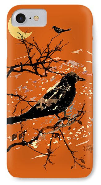 Crows On All Hallows Eve Phone Case by Arline Wagner