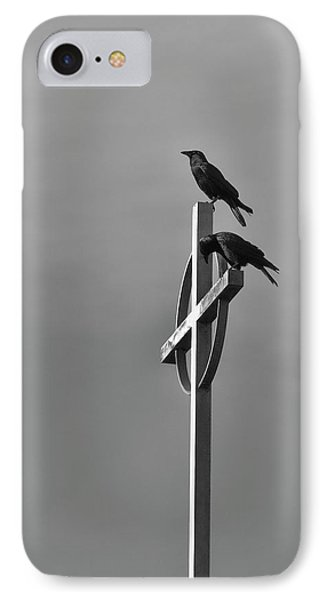 IPhone Case featuring the photograph Crows On Steeple by Richard Rizzo