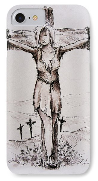 Crucified With Christ IPhone Case by Rachel Christine Nowicki