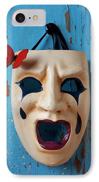 Crying Mask And Red Butterfly Phone Case by Garry Gay