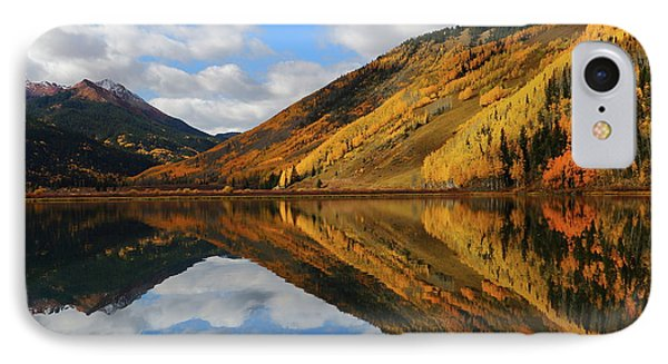 IPhone Case featuring the photograph Crystal Lake Autumn Reflection by Jetson Nguyen