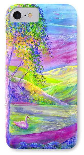 IPhone Case featuring the painting Crystal Pond, Silver Birch Tree And Swan by Jane Small