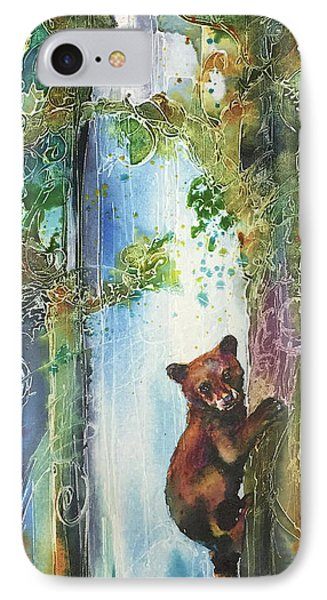 IPhone Case featuring the painting Cub Bear Climbing by Christy Freeman
