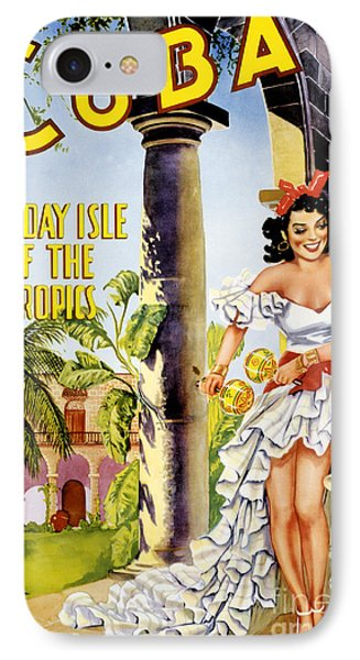Cuba Holiday Isle Of The Tropics Vintage Poster IPhone Case by Carsten Reisinger