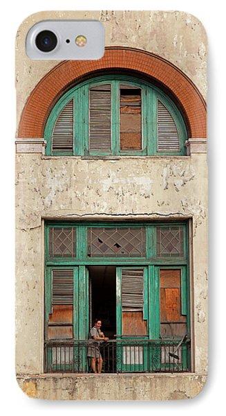 IPhone Case featuring the photograph Cuban Woman On San Pedro Balcony Havana Cuba by Charles Harden