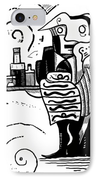Cubist Waiter IPhone Case by Sotuland Art
