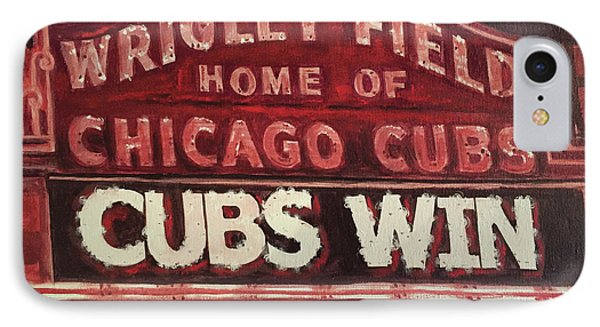 Cubs Win IPhone Case by Marietta Faso