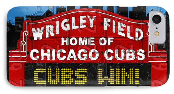 Cubs Win Wrigley Field Chicago Illinois Recycled Vintage License Plate Baseball Team Art IPhone Case by Design Turnpike