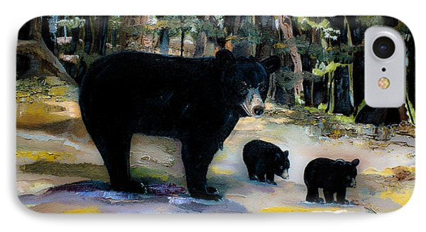 Cubs With Momma Bear - Dreamy Version - Black Bears IPhone Case