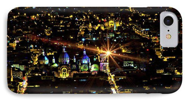 IPhone Case featuring the photograph Cuenca's Historic District At Night by Al Bourassa