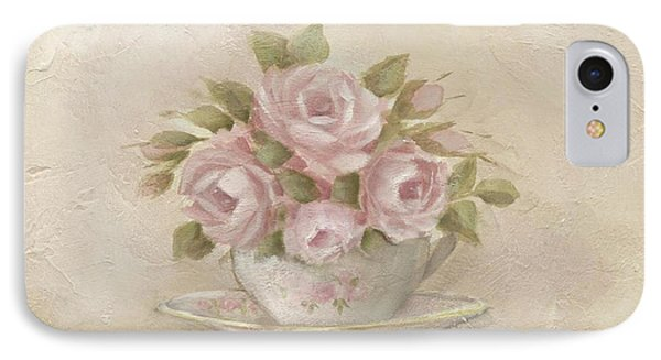 IPhone Case featuring the painting Cup And Saucer  Pink Roses by Chris Hobel