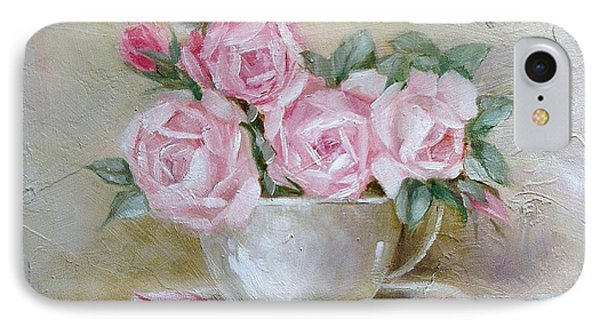 IPhone Case featuring the painting Cup And Saucer Roses by Chris Hobel