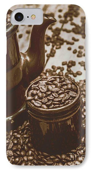 Cup And Teapot Filled With Roasted Coffee Beans IPhone Case by Jorgo Photography - Wall Art Gallery