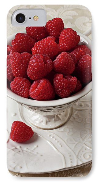 Cup Full Of Raspberries  IPhone Case by Garry Gay