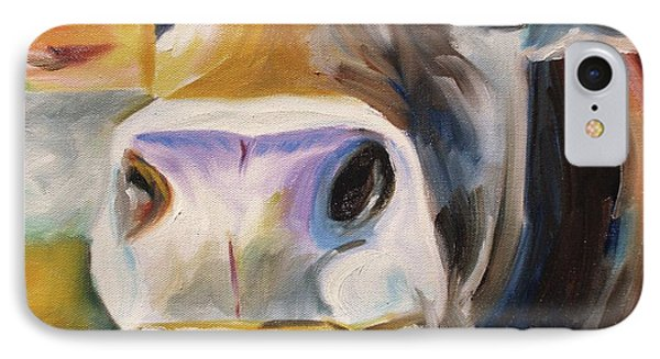 IPhone Case featuring the painting Curious Cow by Donna Tuten