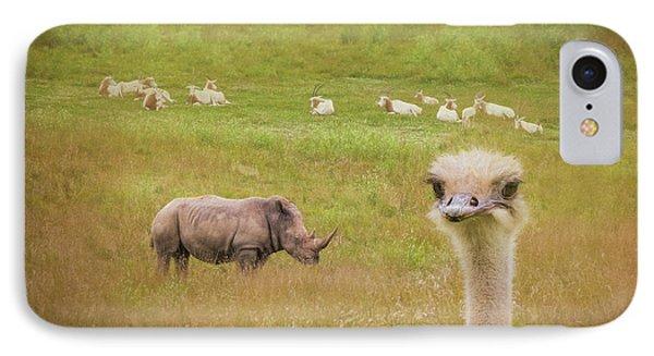 Ostrich iPhone 7 Case - Curious Ostrich And White Rhino by Tom Mc Nemar
