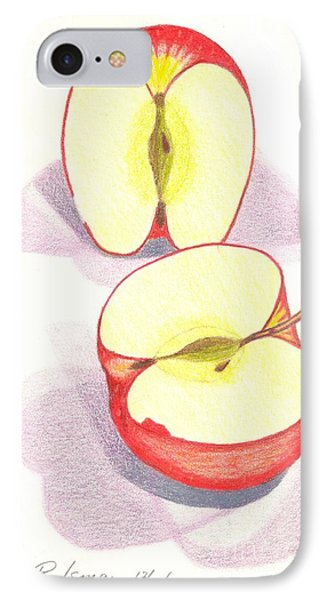 IPhone Case featuring the drawing Cut Apple by Rod Ismay