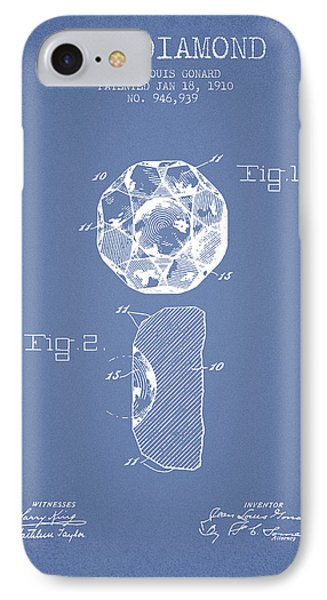 Cut Diamond Patent From 1910 - Light Blue IPhone Case by Aged Pixel