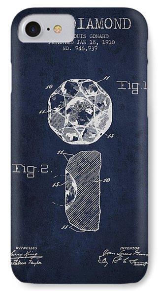 Cut Diamond Patent From 1910 - Navy Blue IPhone Case by Aged Pixel