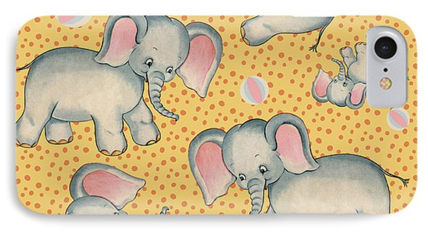 Cute Baby Elephant Pattern Vintage Illustration For Children IPhone Case by Tina Lavoie