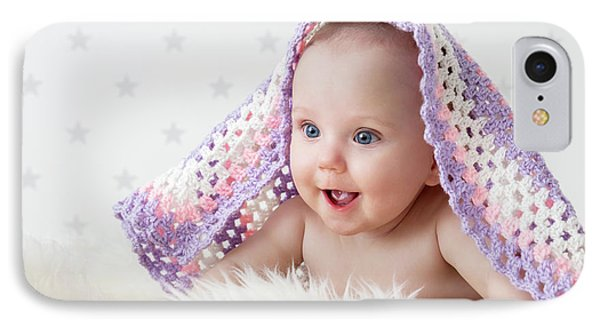 Cute Baby Laughing While Lying Under A Woollen Blanket. IPhone Case