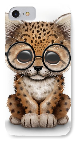 Cute Baby Leopard Cub Wearing Glasses IPhone Case by Jeff Bartels
