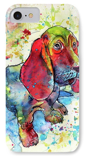IPhone Case featuring the painting Cute Basset Hound by Kovacs Anna Brigitta