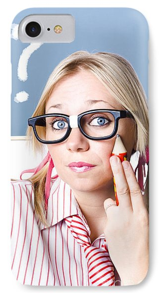 Cute Blond Girl In Glasses Asking Big Question IPhone Case
