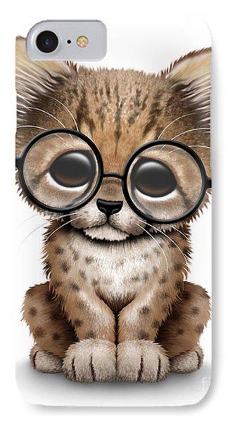 Cute Cheetah Cub Wearing Glasses IPhone Case by Jeff Bartels