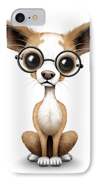 Cute Chihuahua Puppy Wearing Eye Glasses IPhone Case