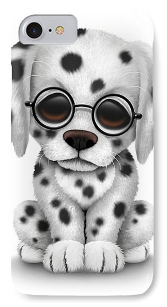 Cute Dalmatian Puppy Dog Wearing Eye Glasses IPhone Case by Jeff Bartels