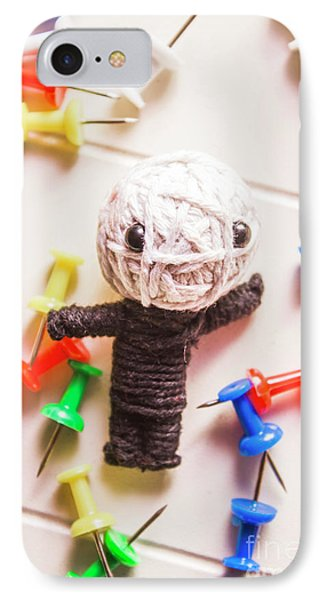 Cute Doll Made From Yarn Surrounded By Pins IPhone Case