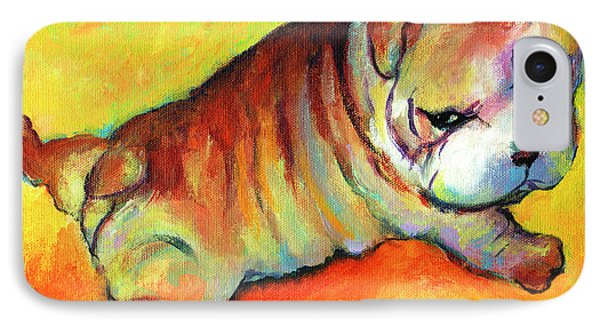 Cute English Bulldog Puppy Dog Painting IPhone Case by Svetlana Novikova