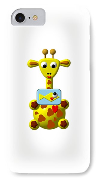 Cute Giraffe With Goldfish IPhone Case by Rose Santuci-Sofranko