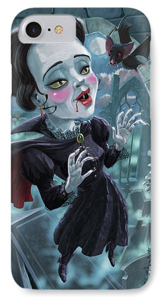 IPhone Case featuring the digital art Cute Gothic Horror Vampire Woman by Martin Davey