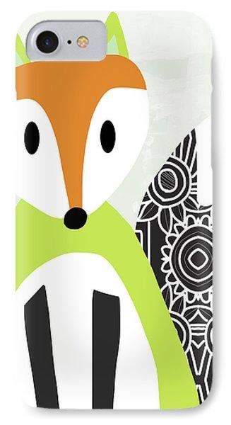 Cute Green And Black Fox- Art By Linda Woods IPhone Case by Linda Woods