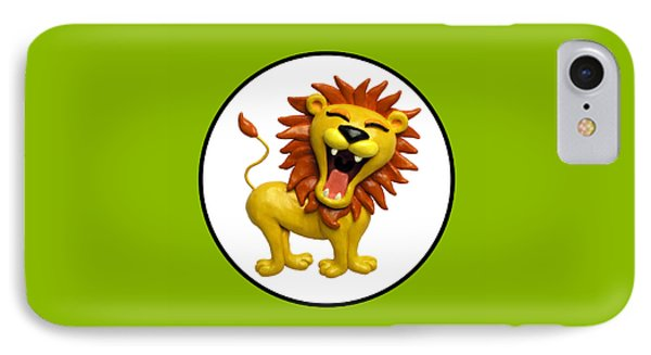 Cute Lion Roaring Circle IPhone Case