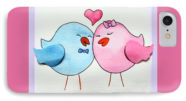 Cute Lovebirds Watercolour IPhone Case by Terri Waters