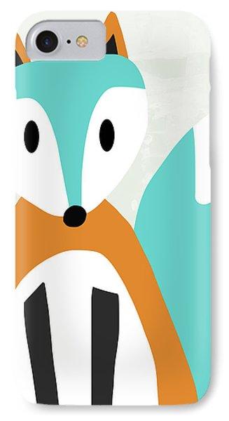 Cute Orange And Blue Fox- Art By Linda Woods IPhone Case by Linda Woods