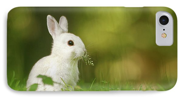 Cute Overload Series - Happy White Rabbit IPhone Case by Roeselien Raimond