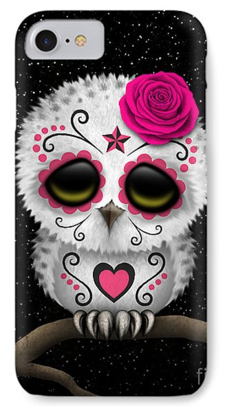 Cute Pink Day Of The Dead Sugar Skull Owl On A Branch IPhone Case by Jeff Bartels