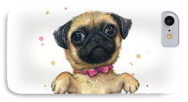 Cute Pug Puppy IPhone Case by Olga Shvartsur